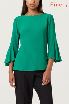 Finery True Green Begonia Flute Sleeve Top
