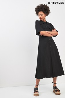 Whistles Black Maria Pocket Longline Dress