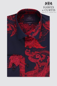 Hawes & Curtis Navy Paisley Pattern Single Cuff Slim Fit Shirt