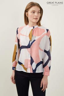 Great Plains White Sarasota Abstract Shirt