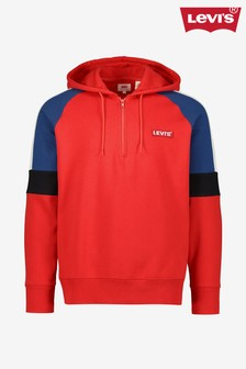 Levi's® Red Panelled Quarter Zip Hoody