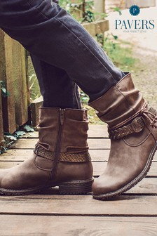 Pavers Brown Ladies Slouch Fit Women's Ankle Boots