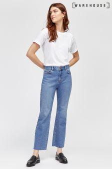 Warehouse Ausgestellte Cropped-Jeans, blau
