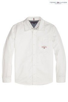 Tommy Hilfiger White Solid Twill Shirt