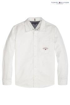 חולצה מאריג אלכסוני של Tommy Hilfiger בצבע לבן רווי