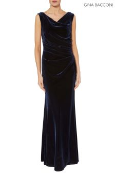 Gina Bacconi Navy Ramona Velvet Maxi Dress