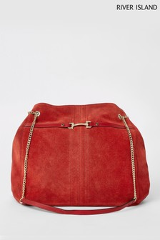 River Island Red Leather Snaffle Slouch Bag