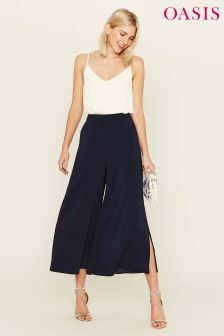 Oasis Blue Luxe Palazzo Trouser