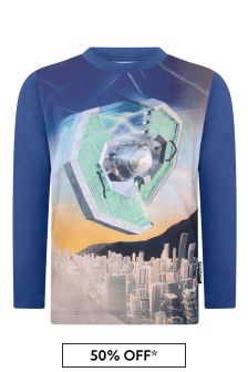 Boys Blue Present Organic Cotton Long Sleeve T-Shirt