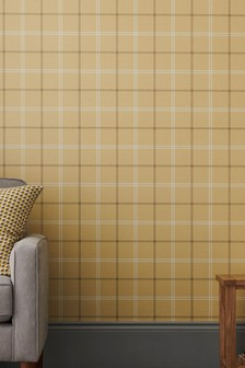 Paste The Paper Ochre Check Wallpaper