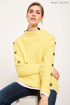 Mint Velvet Yellow Contrast Button Sleeve Detail Knit
