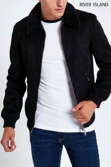 River Island Suedette Borg Collar Jacket
