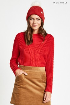 Jack Wills Bright Red Elwick Travelling Cable Crew
