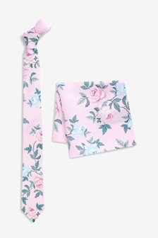 Floral Tie And Pocket Square Set