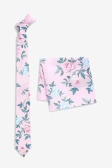 Галстук с цветочным рисунком и нагрудный платок в комплекте