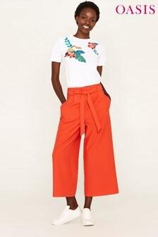 Oasis Orange Crop Wide Leg Trouser