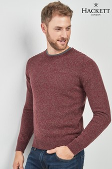 Hackett Brown Mouline Crew Neck Jumper