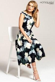 HotSquash Black Floral Midi Length Tea Dress
