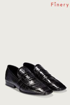 Finery London Black Elma Croc Effect Leather Loafer
