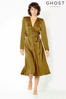 Ghost London Golden Haze Meryl Button Through Satin Dress