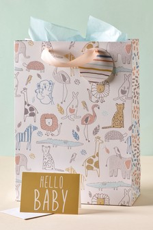 Hello Baby Bag, Card And Tissue Set