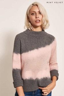 Mint Velvet Grey Felted Intarsia Boxy Knit
