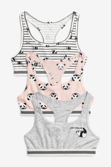 3 Pack Panda Racer Back Crop Tops (Older)