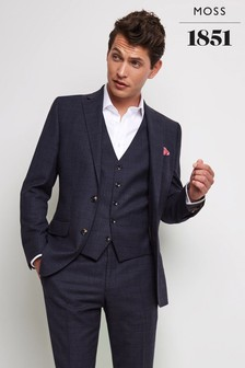 Moss 1851 Tailored Fit Blue/Gold Check Jacket