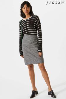 Jigsaw Black Micro Check Pencil Skirt