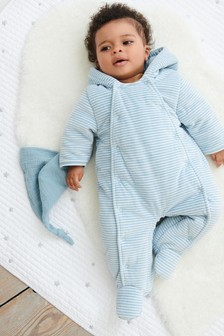 Striped Velour All-In-One Pramsuit (0mths-2yrs)