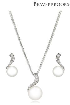 Beaverbrooks Freshwater Cultured Pearl Cubic Zirconia Pendant and Earring Set