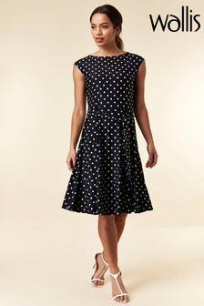 71d9c3759a8 Wallis Navy Spot Fit And Flare Dress