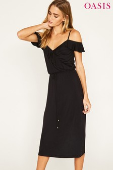 Oasis Black Ruffle Wrap Midi Dress