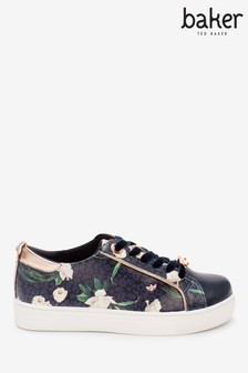 Baker By Ted Baker Navy Floral Cupsole Trainers