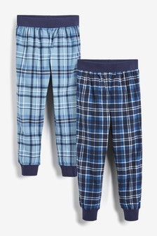2 Pack Cosy Fleece Check Long Leg Pyjama Trousers (3-16yrs)