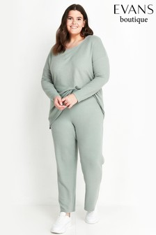 Evans Curve Mint Green Soft Touch Joggers