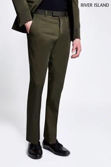 River Island Khaki High Shine Suit Trouser