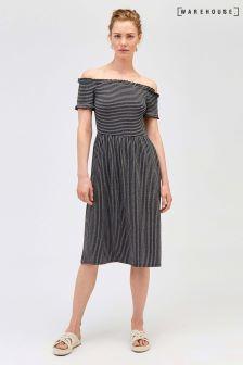 Warehouse Black Bardot Cheesecloth Stripe Dress