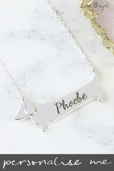 Personalised Flat Sausage Dog Necklace by Lisa Angel