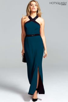 HotSquash Woodland Teal Halter Neck Maxi Evening Gown