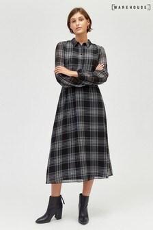 Warehouse Black Soft Checked Shirt Dress