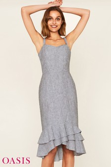 Oasis Grey Ruffle Hem Linen Dress
