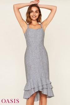 Серое платье Oasis с оборками