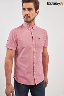 Superdry Red Short Sleeve Gingham Shirt