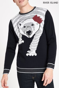 River Island Polar Bear Knit Jumper