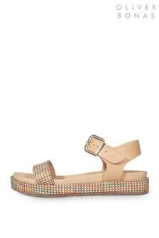 Oliver Bonas Nude Textured Flatform Sandal