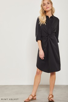 Mint Velvet Ink Twist Front Shirt Dress