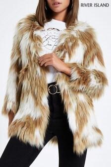 River Island Ivory Faux Fur Coat