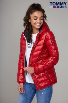 Tommy Jeans Womens Red Basic Quilted Hooded Jacket