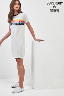 Vestido estilo camiseta con ribetes en gris de Superdry
